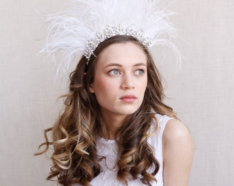 Bohemian Feather Bridal headdress - Editorial, statement Wedding Headpiece with ivory ostrich feathers -Vintage showgirl headpiece