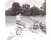 Vintage Photo - Boy on Tractor or Mower - Ephemera (A)