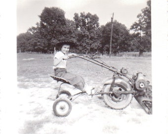 Vintage Photo - Boy on Tractor or Mower - Ephemera (A)