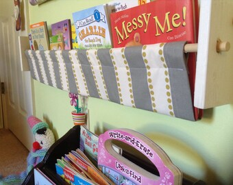Nursery Storage - Grey olive Green White Modern Stripe - book sling storage shelf rack