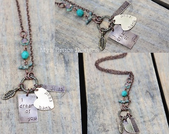 i dreamt of you, with name and date  - Mixed metal necklace with tiny turquoise bird and jewels in chain