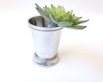 Mint Julep cup, silver finish, aluminum, flower vase, bud vase, home decor, flower arrangement, cache pot, bathroom decor