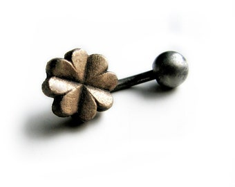 Four leaf clover belly button ring