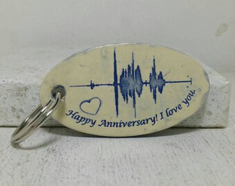 Wedding date anniversary key chain Sound wave Custom key chain with message Personalized gift Your voice Voice wave GWAFT4