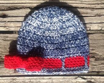 Newborn Baby Hat ,Stonewashed Denim, Blue, Red, Bow Hat, Newborn, Infant, Baby Girl Hat, Infant Hat, Beanie, Girl,  Crochet Infant Hat