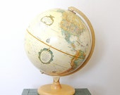 """Vintage Replogle 12"""" World Classic Series Globe with Wood Stand / Made in USA / Item No. 15924"""