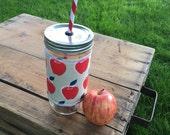 Red Apples - Mason Jar cup  24 oz large Tumbler w sleeve- travel mug - teachers gift - candy swirl straw included