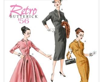 1950s Slim Sheath Dress Fit and Flare Dress Nipped Waist Slit Neckline Dinner Dance Cocktail Butterick 5813 FF Women's Sewing Pattern