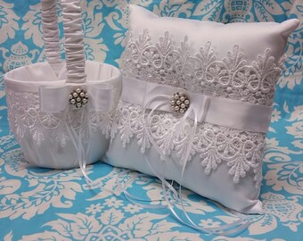 Wedding Ring bearer pillow And flower girl basket set, beautiful vintage themed with pearls and venice guipure lace wedding ring pillow