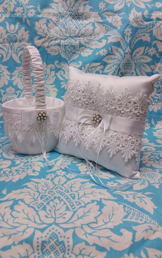 wedding ring bearer pillow and flower girl basket set. Black Bedroom Furniture Sets. Home Design Ideas