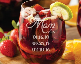 Personalized Mom Glass  1- 17 ounce Engraved Stemless Wine Glass Mothers Day Gift - mom gift with kids birthdays birth dates, gift for her