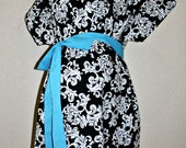 LINED Maddox Maternity Hospital Gown -Black and White Damask- Lined in the Color of Your Choice- by Mommy Moxie