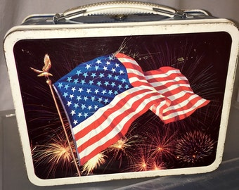1970's American Flag day and night ohio art metal lunch box lunchbox