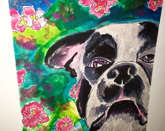 Large print of mixed media piece Chubba the dog boston terrier boxer