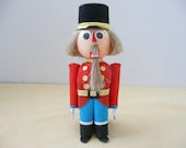 Crepe Paper Nutcracker Candy Box, by Felix Design, Felix Daetwyler of Zurich Switzerland, Christmas Candy Container, Swiss Chocolates