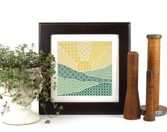 blackwork sunrise kit - cross stitch + embroidery - diy - modern