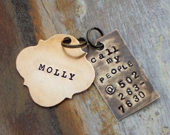 CALL my PEOPLE Pet Tag. Handmade, Hand Stamped. You choose FONT, metal and shape. custom i.d. tags. personalized identification pet tag.