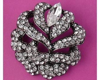 Carolee Rhinestone Pave Rose Flower Pin - Dark Gunmetal Silver Petals