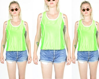 90's NEON GREEN SPORTY Cropped Tank Top. Shiny Mesh-Look Sportswear Fabric. 90's Grunge Rave Sports. Size S/M