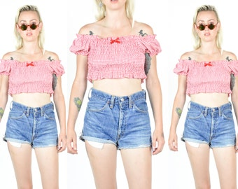 1990's RED and White GINGHAM Off The Shoulder Crop Top. Peasant Top. 90's Grunge Girly 70's Hippie Mod