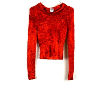90's Red MOSCHINO Fuzzy Cropped Sweater size - S/M