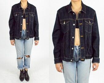 1990's DENIM JACKET. Dark Blue Denim. 90's Grunge. Slim Fitted Cut. Size M/L