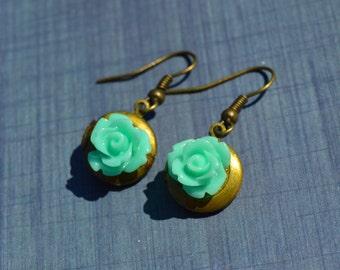 Locket Earrings - Mint Aqua Blue Roses on a Hand-Antiqued Brass Locket