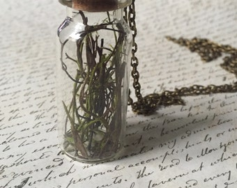 Autumn woods- Glass Bottle necklace