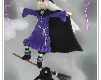 Witchhazel the flying witch Knitting pattern PDF download