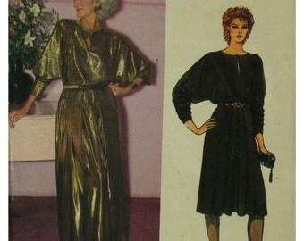 Arlene Dahl Blouson Top Dress, Stretch Fabric, Push up Sleeves, A-Line Skirt, Evening Gown, Round Slit Neck, Vogue No 8521 Size 16 18 20