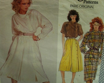 80s Claude Montana Dress Pattern, Culottes,  A-line, Side Button Blouse, Long/Short Sleeves, Collar, Vogue No. 2855 Size 12 Bust 34""