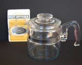 Vintage Pyrex Flameware 4 cup Percolator number 7754 Replacement Body and Lid Only with 2 Heat Diffusers OPTIONAL