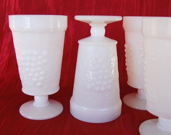 Vintage Grapes and Vines Milk Glass Tumblers 8 ounce Milk Glass Pedestal Drinking Glasses