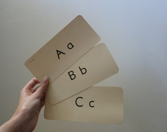Vintage alphabet flash card set postcard greeting paper ephemera wedding decor