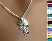 Sterling Silver Cross Pendant Necklace Personalized Birthstone Box Chain Womens Teens Girls Jewelry Gift