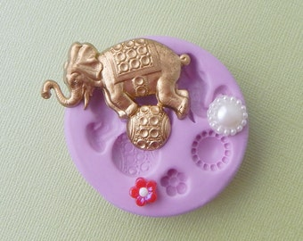 Silicone Circus Elephant Mold Ball Flower DIY Polymer Clay Fondant Resin Wax Cabochon Mold