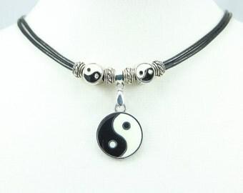 Yin Yang Leather Necklace, Leather Jewelry, Choker, Pendant, Chinese Symbol, Spiritual Jewelry