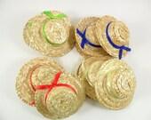 """12 Straw Hats 4"""" Miniature Doll Hats"""