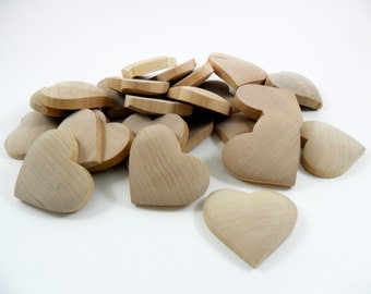 "Wood Hearts 25 Domed Hearts 2"" W x 1 7/8"" H x 3/8"" Unfinished Wood"