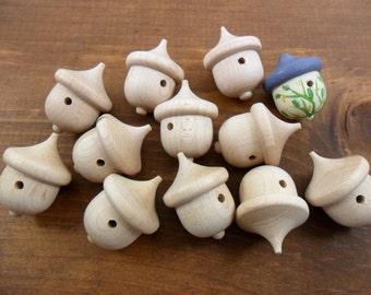 """Acorn Birdhouses 1 3/8"""" x 1"""" Unfinished Wood Acorns 25 Pieces"""