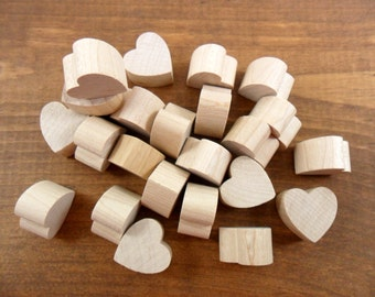 "25 Hearts Chunky 3/4"" H x 3/4"" W x 1/2"" Thick Unfinished Wood Heart Cutouts"