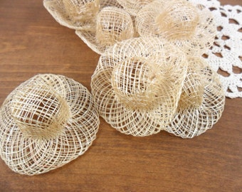 "8 Sinamay Doll Hats 2"" Miniatures Cream / Off White"