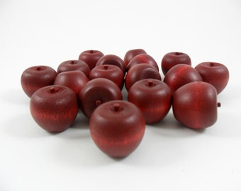 "Red Wood Apples Cherry Painted Miniatures 3/4"" H Stem Attached - 25 Pieces"