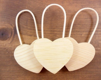 "3 Hearts 5"" H w/Handle x 2 5/8"" W x 1/2"" Thick Unfinished Wood"