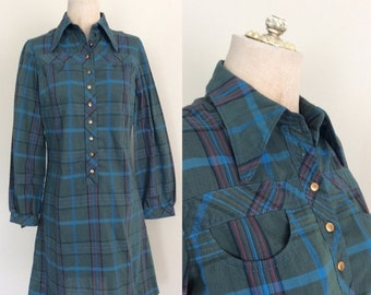 SALE 1970's Cotton Plaid Mod Shift Dress w/ Bust Pockets