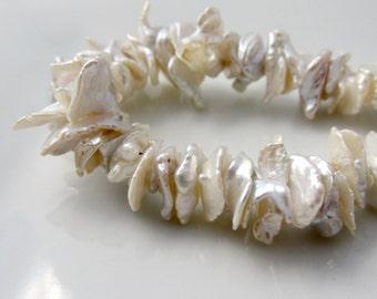 White Keshi Pearls, Ivory Pearls, Cream Keshi, Center Drilled Keshi Pearls, Keishi Pearl, Cornflake Pearl, Large Keshi 12mm-14mm Half Strand