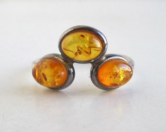 925 Sterling Silver & Amber Ring - Vintage Size 8 3/4