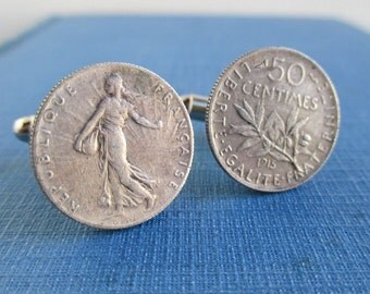 1915 France Coin Cuff Links - 835 Silver Repurposed Coins, 50 Centimes, Front & Back
