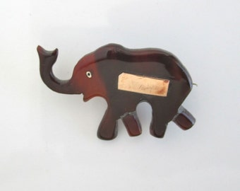 Hand Carved Elephant Brooch / Pin - Solid 10K Gold Engraving Plate