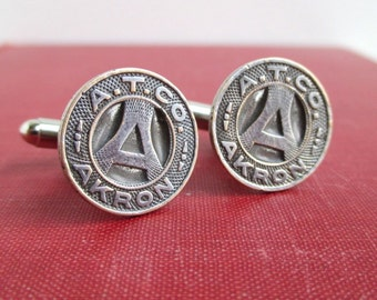 AKRON, OH Transit Token Cuff Links - Vintage Repurposed Coins